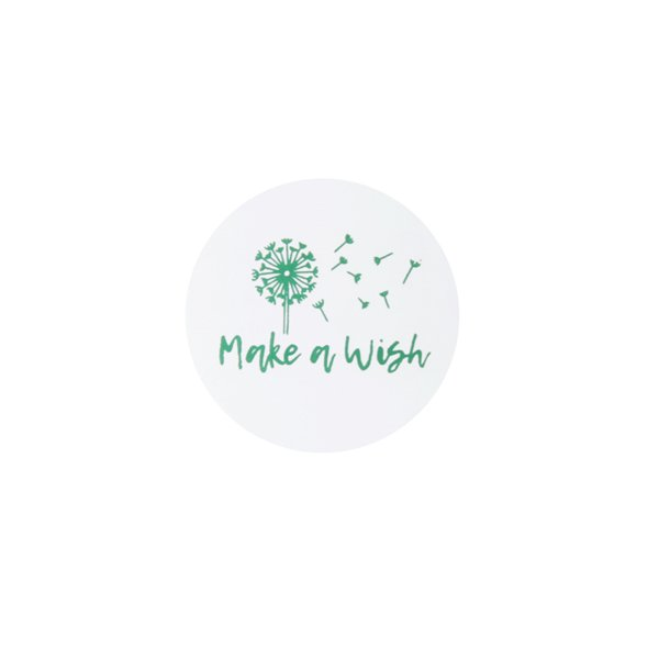 Sticker make a wish - wit groen